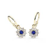 Zlaté dětské náušnice Cutie Jewellery C2749Z-Blue Dark