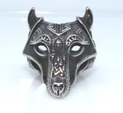 Ocelový prsten s vlčí hlavou WJHZ349