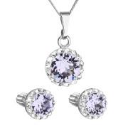 Sada stříbrných šperků s kamínky Swarovski 39352.3 Fialová