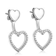 Visací stříbrné náušnice srdce Brosway Musa G9MU22