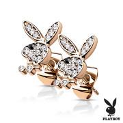 Pozlacené náušnice s kamínky Playboy 004-RDCK