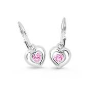 Zlaté dětské náušnice srdíčka Cutie Jewellery C2752B Pink