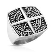 Ocelový pečetní prsten pro muže 7349