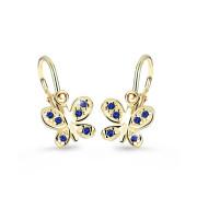 Dětské náušnice zlaté Cutie Jewellery C2748Z-Modrá