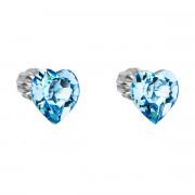 Stříbrné náušnice srdíčka Swarovski elements 31139.3 Modrá