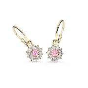 Dětské náušnice zlaté Cutie Jewellery C2749Z-Růžová