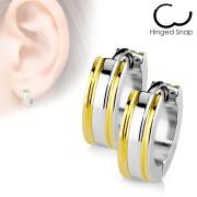 Náušnice kroužky se zlatými proužky 017-GD