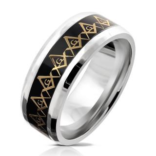 Ocelový pánský prsten 6038-Svobodní zednáři