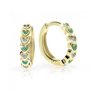 Dětské zlaté náušnice Cutie C3341Z Emerald Green