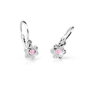 Náušničky pro miminka bílé zlato Cutie C2149B-Pink