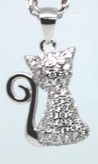 Stříbrný přívěšek na řetízek kočka 307060