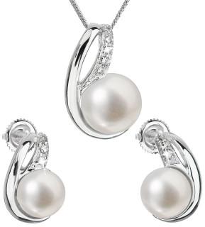 Souprava stříbrných šperků s perlami a zirkony 29042.1