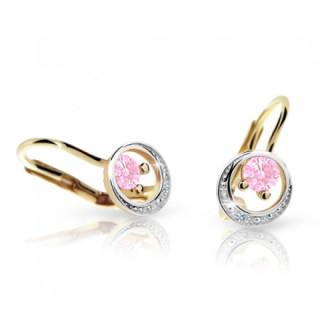 Dívčí zlaté náušnice Cutie C1977Z-Pink