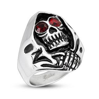 Pánský ocelový prsten lebka 2178