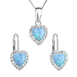 Sada šperků se syntetickým opálem a krystaly Swarovski náušnice a přívěšek světle modré srdce 39161.1